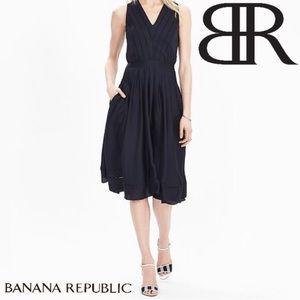 Banana Republic Satin Midi Vee Dress Navy Blue 2